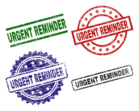 URGENT REMINDER seal prints with damaged texture. Black, green,red,blue vector rubber prints of URGENT REMINDER label with dirty texture. Rubber seals with round, rectangle, medallion shapes. Illusztráció