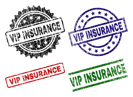 VIP INSURANCE seal imprints with distress texture. Black, green,red,blue vector rubber prints of VIP INSURANCE caption with dust texture. Rubber seals with circle, rectangle, medallion shapes. Çizim