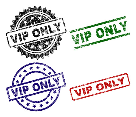 VIP ONLY seal prints with corroded surface. Black, green,red,blue vector rubber prints of VIP ONLY title with retro texture. Rubber seals with round, rectangle, medal shapes.