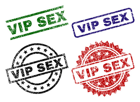 VIP SEX seal prints with distress style. Black, green,red,blue vector rubber prints of VIP SEX title with dirty style. Rubber seals with circle, rectangle, rosette shapes. 向量圖像