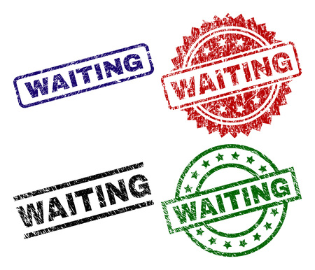 WAITING seal prints with damaged texture. Black, green,red,blue vector rubber prints of WAITING tag with unclean texture. Rubber seals with circle, rectangle, medal shapes. Illustration