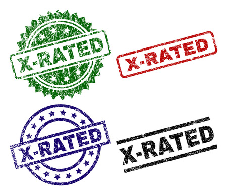 X-RATED seal prints with distress texture. Black, green,red,blue vector rubber prints of X-RATED tag with corroded texture. Rubber seals with round, rectangle, rosette shapes. Imagens - 105897923