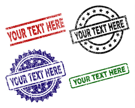 YOUR TEXT HERE seal prints with distress surface. Black, green,red,blue vector rubber prints of YOUR TEXT HERE text with dust style. Rubber seals with circle, rectangle, medallion shapes. Illustration