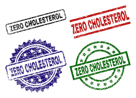ZERO CHOLESTEROL seal imprints with corroded texture. Black, green,red,blue vector rubber prints of ZERO CHOLESTEROL text with corroded texture. Rubber seals with round, rectangle, medal shapes.
