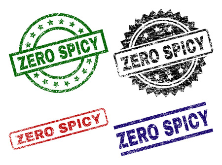 ZERO SPICY seal imprints with corroded surface. Black, green,red,blue vector rubber prints of ZERO SPICY text with corroded surface. Rubber seals with circle, rectangle, medallion shapes.