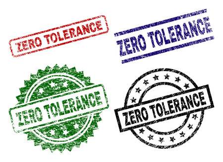 ZERO TOLERANCE seal prints with corroded texture. Black, green,red,blue vector rubber prints of ZERO TOLERANCE text with dirty texture. Rubber seals with circle, rectangle, medal shapes.