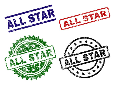ALL STAR seal prints with corroded texture. Black, green,red,blue vector rubber prints of ALL STAR label with dirty texture. Rubber seals with circle, rectangle, rosette shapes.