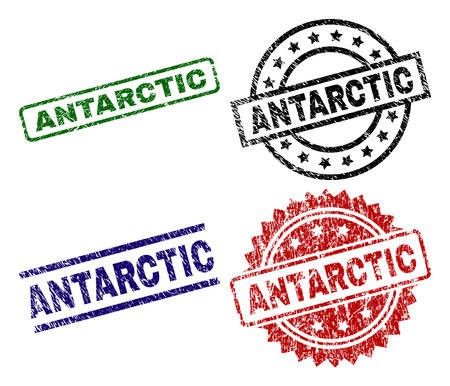 ANTARCTIC seal prints with distress style. Black, green,red,blue vector rubber prints of ANTARCTIC caption with dust style. Rubber seals with round, rectangle, medal shapes.  イラスト・ベクター素材