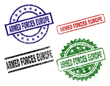 ARMED FORCES EUROPE seal imprints with corroded style. Black, green,red,blue vector rubber prints of ARMED FORCES EUROPE caption with scratched style. Rubber seals with circle, rectangle, Illustration
