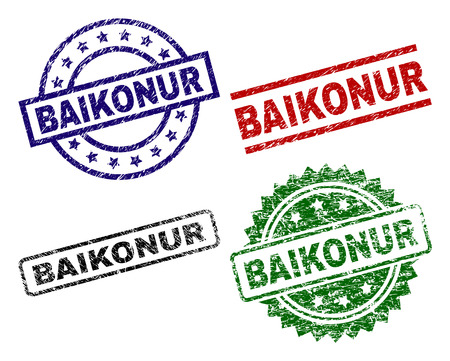 BAIKONUR seal prints with distress surface. Black, green,red,blue vector rubber prints of BAIKONUR title with dust surface. Rubber seals with round, rectangle, medallion shapes.