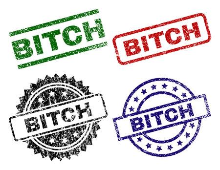 Impresiones de sellos BITCH con estilo dañado. Impresiones de goma de vector negro, verde, rojo, azul de la leyenda de PERRA con estilo sucio. Sellos de goma con forma de círculo, rectángulo, medalla. Ilustración de vector