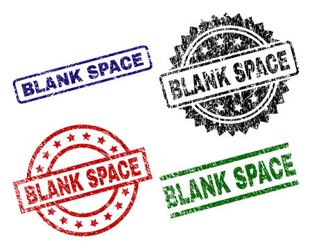 BLANK SPACE seal prints with damaged surface. Black, green,red,blue vector rubber prints of BLANK SPACE tag with scratched style. Rubber seals with circle, rectangle, medal shapes.