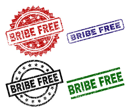 BRIBE FREE seal prints with damaged texture. Black, green,red,blue vector rubber prints of BRIBE FREE tag with retro texture. Rubber seals with round, rectangle, medallion shapes.