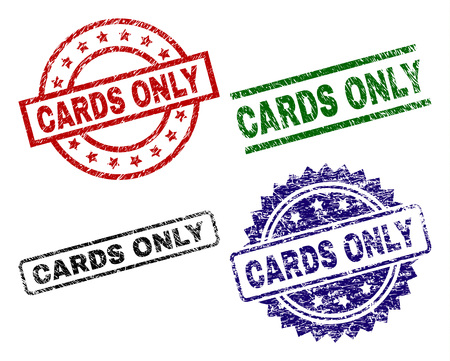 CARDS ONLY seal prints with corroded surface. Black, green,red,blue vector rubber prints of CARDS ONLY title with corroded surface. Rubber seals with circle, rectangle, medal shapes.