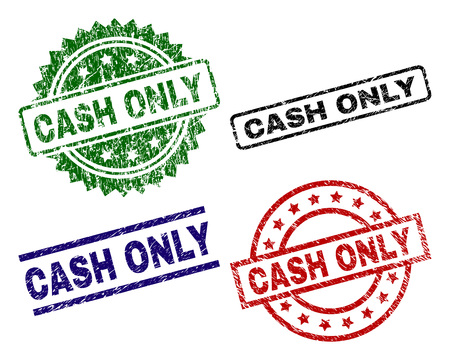 CASH ONLY seal prints with corroded surface. Black, green,red,blue vector rubber prints of CASH ONLY title with dust surface. Rubber seals with round, rectangle, rosette shapes. Illusztráció