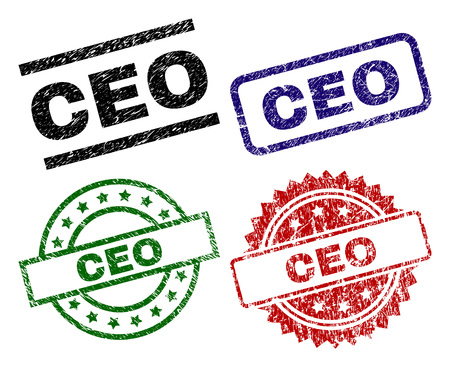 CEO seal prints with corroded surface. Black, green,red,blue vector rubber prints of CEO label with dust surface. Rubber seals with circle, rectangle, medal shapes.