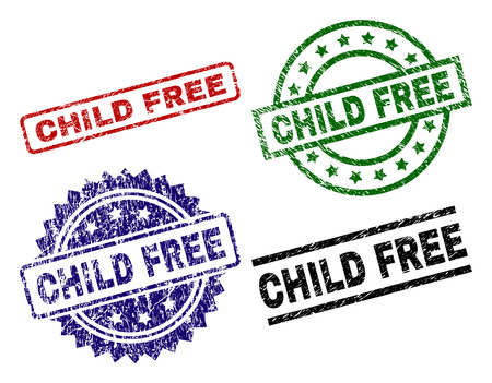 CHILD FREE seal prints with distress style. Black, green,red,blue vector rubber prints of CHILD FREE text with unclean style. Rubber seals with round, rectangle, medallion shapes. Ilustração