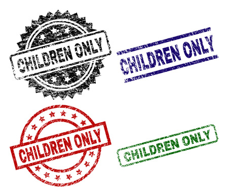 CHILDREN ONLY seal prints with corroded texture. Black, green,red,blue vector rubber prints of CHILDREN ONLY caption with grunge texture. Rubber seals with circle, rectangle, rosette shapes.
