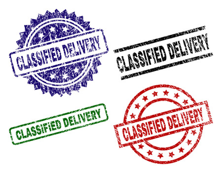 CLASSIFIED DELIVERY seal prints with damaged surface. Black, green,red,blue vector rubber prints of CLASSIFIED DELIVERY label with grunge surface. Rubber seals with circle, rectangle, medal shapes.