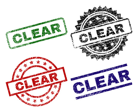 CLEAR seal prints with distress surface. Black, green,red,blue vector rubber prints of CLEAR tag with grunge surface. Rubber seals with round, rectangle, medallion shapes.
