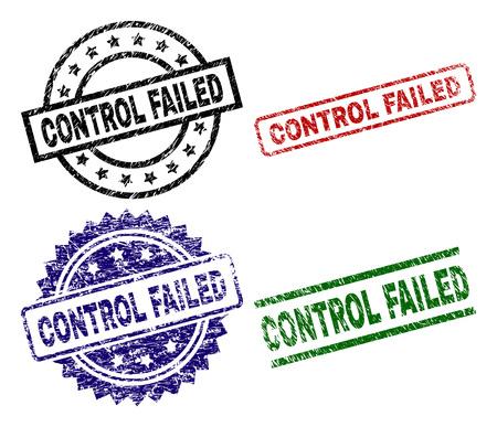 Le sceau CONTROL FAILED imprime avec un style endommagé. Impressions en caoutchouc de vecteur noir, vert, rouge, bleu de texte de contrôle échoué avec un style rétro. Joints en caoutchouc aux formes rondes, rectangulaires, médailles.