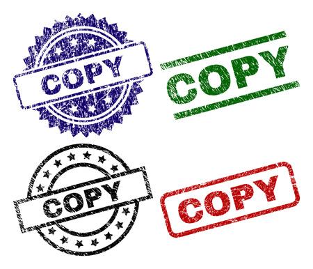 Copiez les timbres de sceau avec une texture corrodée Impressions en caoutchouc de vecteur noir, vert, rouge, bleu de texte COPY avec texture corrodée. Joints en caoutchouc de forme ronde, rectangulaire, médaillon.