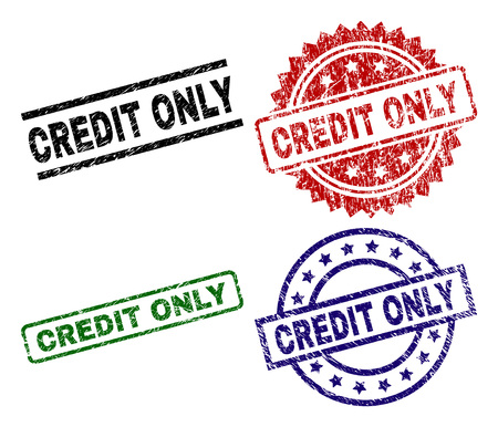 CREDIT ONLY seal prints with damaged style. Black, green,red,blue vector rubber prints of CREDIT ONLY text with scratched style. Rubber seals with circle, rectangle, medal shapes.