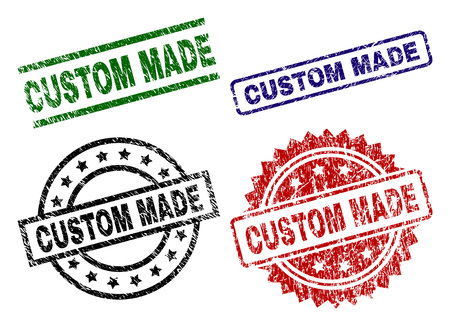 CUSTOM MADE seal prints with corroded style. Black, green,red,blue vector rubber prints of CUSTOM MADE title with unclean style. Rubber seals with circle, rectangle, rosette shapes.