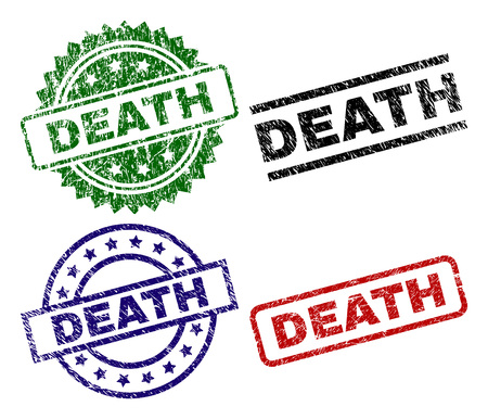 DEATH seal prints with damaged texture. Black, green,red,blue vector rubber prints of DEATH label with scratched texture. Rubber seals with circle, rectangle, rosette shapes. Illustration