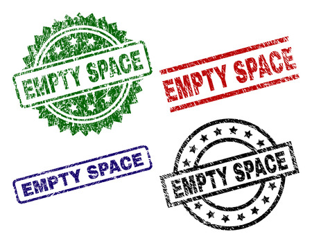 EMPTY SPACE seal prints with corroded texture. Black, green,red,blue vector rubber prints of EMPTY SPACE label with scratched texture. Rubber seals with circle, rectangle, medal shapes.