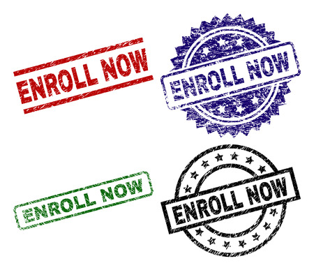 ENROLL NOW seal imprints with corroded style. Black, green,red,blue vector rubber prints of ENROLL NOW text with retro style. Rubber seals with round, rectangle, medal shapes.