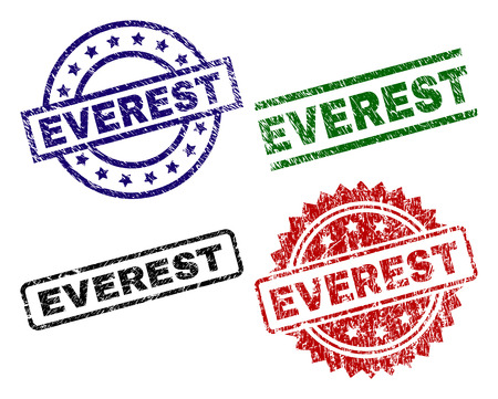 EVEREST seal prints with distress surface. Black, green,red,blue vector rubber prints of EVEREST label with unclean surface. Rubber seals with round, rectangle, medallion shapes. Illustration