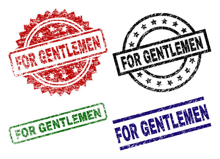 FOR GENTLEMEN seal prints with corroded style. Black, green,red,blue vector rubber prints of FOR GENTLEMEN text with corroded texture. Rubber seals with round, rectangle, medal shapes.