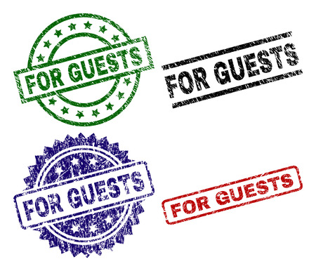 FOR GUESTS seal prints with damaged style. Black, green,red,blue vector rubber prints of FOR GUESTS tag with unclean texture. Rubber seals with round, rectangle, medal shapes.