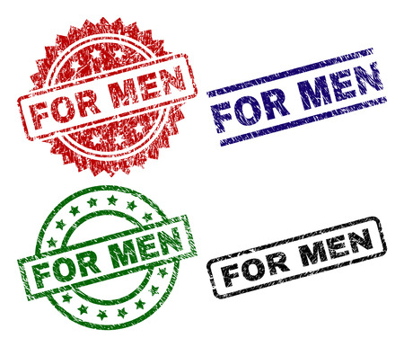 FOR MEN seal stamps with damaged surface. Black, green,red,blue vector rubber prints of FOR MEN caption with unclean surface. Rubber seals with round, rectangle, medallion shapes. Illustration
