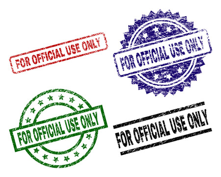 FOR OFFICIAL USE ONLY seal prints with damaged surface. Black, green,red,blue vector rubber prints of FOR OFFICIAL USE ONLY label with corroded surface. Rubber seals with circle, rectangle,