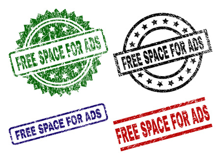 FREE SPACE FOR ADS seal imprints with corroded surface. Black, green,red,blue vector rubber prints of FREE SPACE FOR ADS title with corroded surface. Rubber seals with round, rectangle, medal shapes.