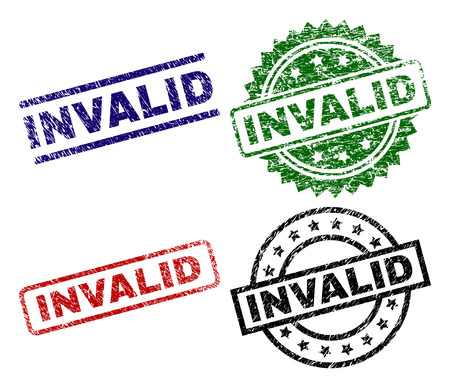 INVALID seal prints with distress style. Black, green,red,blue vector rubber prints of INVALID tag with grunge style. Rubber seals with round, rectangle, medallion shapes. Illustration