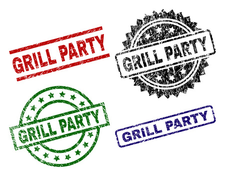GRILL PARTY seal prints with corroded texture. Black, green,red,blue vector rubber prints of GRILL PARTY text with unclean texture. Rubber seals with circle, rectangle, rosette shapes. Vettoriali
