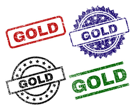 GOLD seal prints with corroded texture. Black, green,red,blue vector rubber prints of GOLD caption with dust texture. Rubber seals with circle, rectangle, rosette shapes.