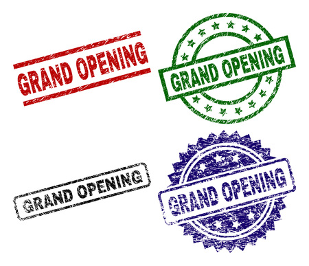 GRAND OPENING seal imprints with distress surface. Black, green,red,blue vector rubber prints of GRAND OPENING label with scratched surface. Rubber seals with round, rectangle, rosette shapes. Ilustração