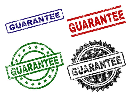 GUARANTEE seal prints with damaged surface. Black, green,red,blue vector rubber prints of GUARANTEE label with corroded surface. Rubber seals with circle, rectangle, medal shapes. Illusztráció