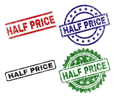 HALF PRICE seal prints with corroded style. Black, green,red,blue vector rubber prints of HALF PRICE tag with dust style. Rubber seals with circle, rectangle, medal shapes.