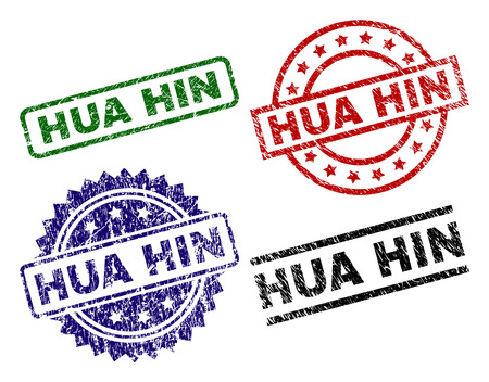 HUA HIN seal prints with corroded style. Black, green,red,blue vector rubber prints of HUA HIN caption with corroded style. Rubber seals with round, rectangle, medal shapes.