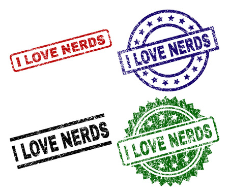 I LOVE NERDS seal prints with corroded style. Black, green,red,blue vector rubber prints of I LOVE NERDS label with corroded surface. Rubber seals with circle, rectangle, medal shapes.