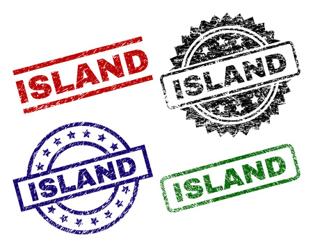 ISLAND seal prints with distress surface. Black, green,red,blue vector rubber prints of ISLAND label with dust surface. Rubber seals with circle, rectangle, medal shapes.