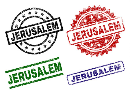 JERUSALEM seal prints with corroded style. Black, green,red,blue vector rubber prints of JERUSALEM caption with dust style. Rubber seals with round, rectangle, medal shapes. Illustration