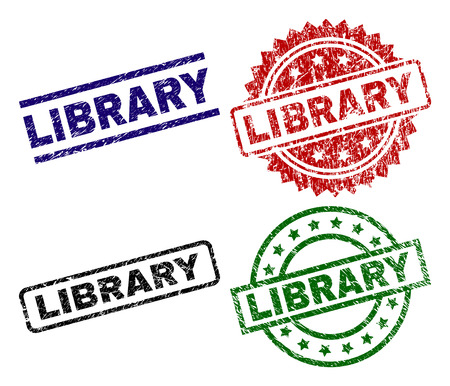LIBRARY seal prints with corroded texture. Black, green,red,blue vector rubber prints of LIBRARY text with retro texture. Rubber seals with circle, rectangle, medallion shapes.