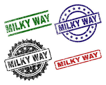 MILKY WAY seal prints with damaged surface. Black, green,red,blue vector rubber prints of MILKY WAY label with corroded surface. Rubber seals with round, rectangle, medallion shapes.