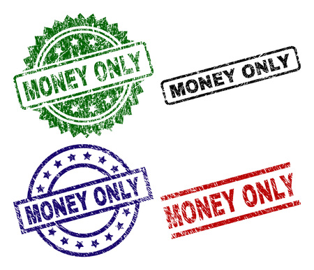 MONEY ONLY seal prints with corroded texture. Black, green,red,blue vector rubber prints of MONEY ONLY caption with retro texture. Rubber seals with round, rectangle, medallion shapes.